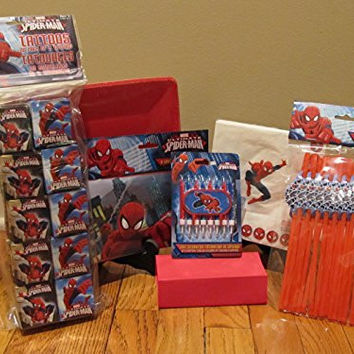 Marvel Spiderman Birthday Party Pack Supplies Set Bundle WITH Spiderman Tattoos Plates Napkins Straws Goodie Bags Candles!!!