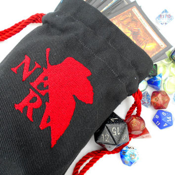 NERV Bag -Dice Bag, Tarot Bag, Accessory Bag, Gaming Bag, Neon Genesis Evangelion, NGE, NERV, Red, Black, anime