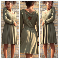 A Casually Criss Crossed Dress in Olive