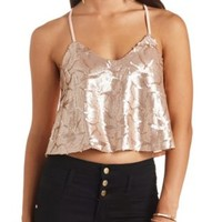 Swirling Sequin Swing Crop Top - Rose Gold Metallic