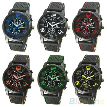 Men's Casual Quartz Analog Rubber Silicone Band Stainless Steel Sports Wrist Watch