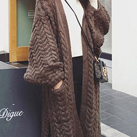 Autumn Winter Chunky Knitted Khaki Brown Loose Fit Long Cardigan. Oversized Knitwear Cover Up