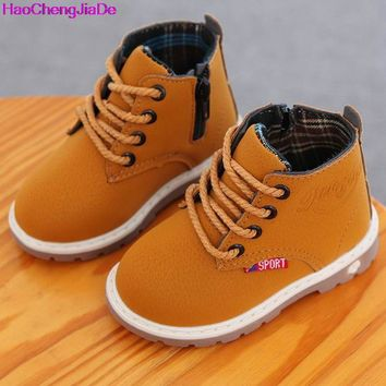HaoChengJiaDe 2017 High-grade Children Shoes Leather Baby Boys Shoes Martin Boots Waterproof Breathable Lace-Up Ankle Girls Shoe