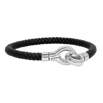 316L Stainless Steel Cuff Clasp Black Braided Leather Bracelet 8.25""