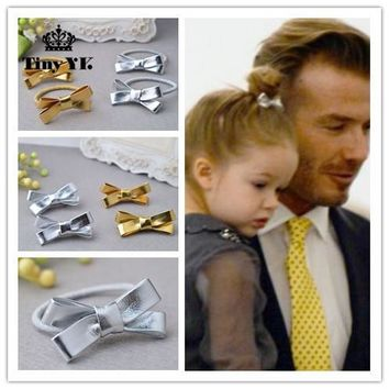 Hot Kids Gift Bow Hairpins Girls Hair Accessories Children Accessories Solid Gold Silver color Hair Clip Lovely Flower Headdress