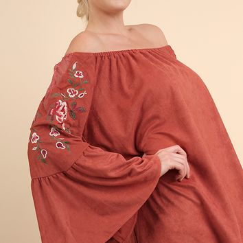 Women's Plus Suede Off Shoulder Top with Bell Sleeves