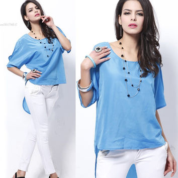 Trendy Women Off Shoulder Batwing Dolman Short Sleeve Summer Casual Loose Sexy Top Clothing Sky Blue b9