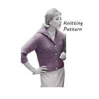 Woman's Mohair Sweater Knitting Pattern Sizes 12- 16|| Bust 32- 36in/ 81- 91cm || Vintage 1960's Reproduction Printed Pattern1101-TC52