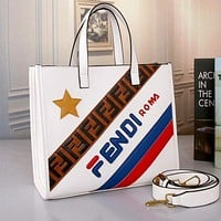 FENDI New Fashion Women Shopping Leather Handbag Tote Shoulder Bag Crossbody Satchel White