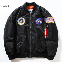 Flight Pilot Jacket Coat Bomber Ma1 For Men 2016 Early Spring Jackets Nasa Air Force Embroidery Baseball Military Coats M-XXL