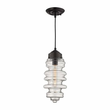 Cipher 1 Light Pendant In Oil Rubbed Bronze And Clear Glass