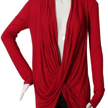 Deep Cross Cowl Neck Long Sleeve Draped Tunic Wrapped Shirt Top