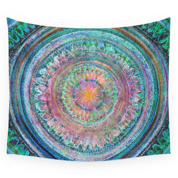 Society6 Pink And Turquoise Mandala Wall Tapestry
