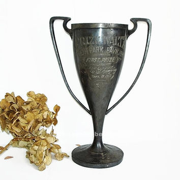 Antique Loving Cup Waltz Trophy, Oceanpark Pavilion FIRST Prize 1913 Loving Cup Trophy