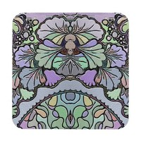Old world purple pansy coaster