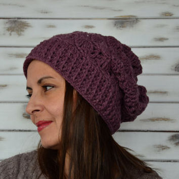 crochet slouchy beanie, purple hat women, wool winter hat,  womens beanie, fall winter fashion, Christmas gift, warm hats
