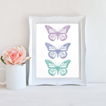 Butterfly Glitter Printable Sign, Pastel Monarch Butterflies, Nursery Digital Wall Art Template, Instant Download, Customizeable 8x10