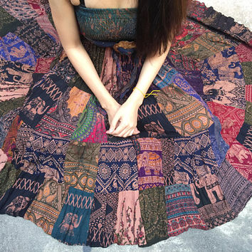 Maxi Dress & Skirt Gypsy bohemian Hippie Festival Boho clothing Elephant tribal Vegan style handmade gift for Vegan women unique thailand