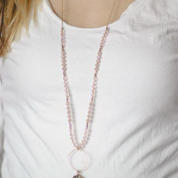 Good as Gold Necklace and Earring Set - Blush