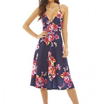 Navy Deep V-Neck Floral Print Strappy Midi Skater Dress