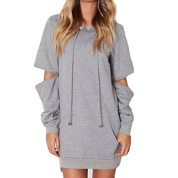 Autumn Mini Dress Women Pure Color Hooded Dress Fashion Casual Long Sleeve Bandage Straight Dresses