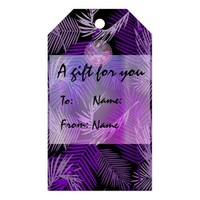 Purple Palm Leaves Pattern Gift Tags