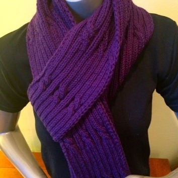 Djfleesh Big Head Anja Scarf - Free Shipping in the US - Purple - Cables - Unisex