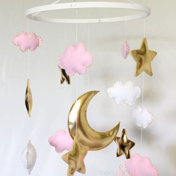 Baby Crib Mobile - Baby Mobile - Cloud Mobile - Stars Mobile - Pink and Gold - Felt Mobile