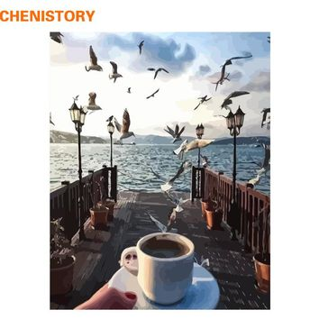 CHENISTORY Frameless Seagull Coffee DIY Painting By Numbers Modern Home Wall Art Picture Landscape Calligraphy Painting 40x50cm