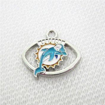 20pcs/lot Miami Dolphins Charm pendant Dangle Hanging Charms DIY Bracelet Jewelry Accessory Football Sports Charms necklace