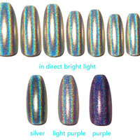 Silver, Lilac or Purple Holographic Fake Nails, Glossy holographic glitter coffin, stiletto, oval or square nails, 20 Press on nails