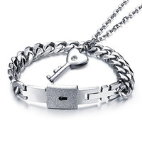Kaariag Punkin™ Titanium Steel The Key of Love and Lock Mens Bracelet Couples Jewelry Set