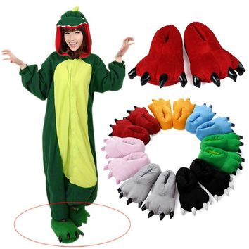 Unisex Onesuit Shoes Pajamas Costume Cosplay Animal Onesuits Slippers For Women Men Adults Child Panda Unicorn Giraffe Tigger