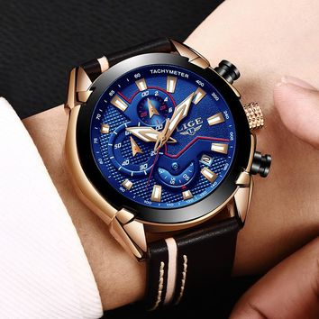 Reloje LIGE Brand Men's Chronograph Analog Quartz Watch with Date, Luminous Hands, Waterproof Leather Strap Wristswatch for Man