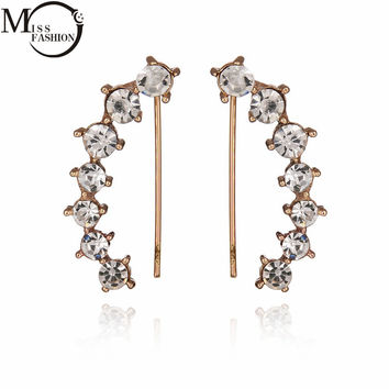 Summer Fashion Jewelry AAA CZ Diamond Clip Earrings Simple Gold Plated Ear Cuff For Women Girls Gift Earing