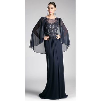 Navy Blue Floor Length Formal Dress Appliqued with Poncho