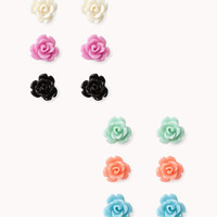 Carved Roses Earring Set