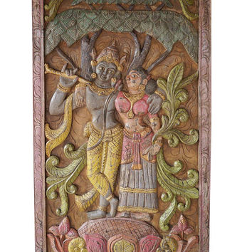 Indian Carving Door Vintage Hand Carved Krishna Radha Carving spiritual Sculpture, Eclectic Interior CLEARANCE SALE