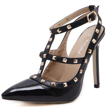 New 2107 Hot Women Pumps Ladies Sexy Pointed Toe High Heels Fashion Buckle Studded Sti