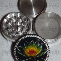 Namaste Lotus Flower with Crystals 4 Piece CNC Aluminum Pollen Herb Grinder Grinders