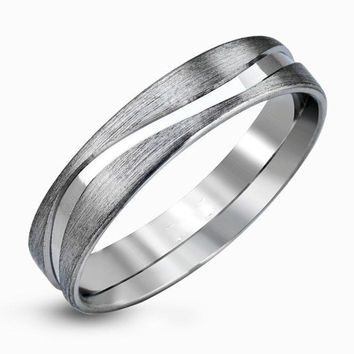 Concise EDI  Drawbench 14k 585 White Gold Wedding Band Wave Shape Only Lover Jewelry  Engagement Anniversary Ring For Men