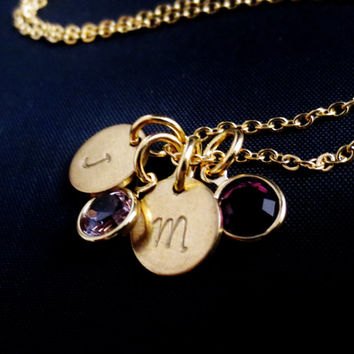 Gold Initial Discs Charm Necklace, Initials and Birthstones, Gold Discs Swarovski Crystals, Long Layering Necklace, Mothers Necklace