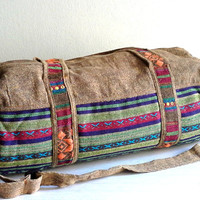 Southwestern Weekender bag, Aztec Duffle bag, Lightweight travel bag, Hippie overnight bag, cotton sports bag, Fitness gym bag, Brown