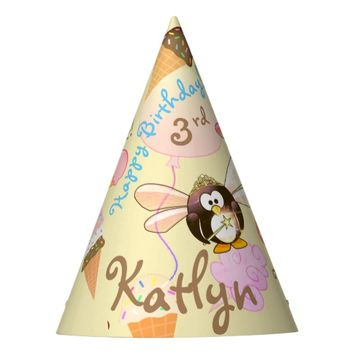 Cute Party Favor Hat Personalized Penguin Icecream