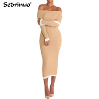 Casual Spring Autumn Women Dress Long Sleeve Sexy Evening Club Dress Winter Maxi Bodycon Party Knitted Sweater Dress Vestidos