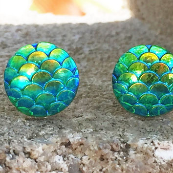 MONSTER SALE Earrings Green Mermaid Dragon Fish Scales Stud Earrings Boho Jewelry 10MM