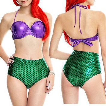 Hot New Sexy Mermaid Bikinis Set 2017 Women Vintage High Waist Swimwear Fish Scale Print Push Up Cutest Beachwear Swimsuits