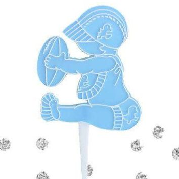 12 Baby Boy with Football Bakery Cupcake Picks Cake Decoration Shower Blue NFL
