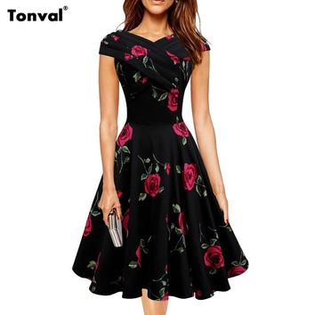 Tonval Vintage Rose Floral Print Women Swing Dress Summer 50s Rockabilly Ruched Elegant Sexy Tunic Evening Party Dresses