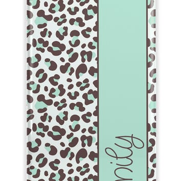 Cheetah Iphone case - Light blue with stripe and your name or text